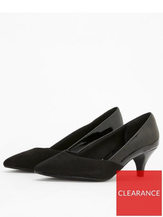 588ee87e18c ... Evans Extra Wide Fit Sweetheart Kitten Heel Shoe - Black. View larger
