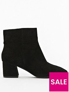 360097757 Evans Extra Wide Fit Microfibre Block Heel Ankle Boot - Black