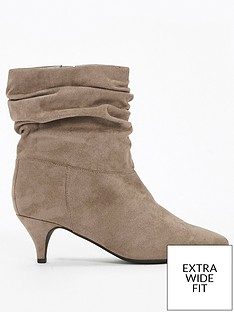 evans-extra-wide-fit-ruched-kitten-heel-ankle-boot-grey