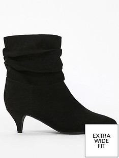 evans-extra-wide-fit-ruched-kitten-heel-ankle-boot-black