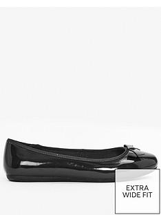 evans-extra-wide-fit-patent-bow-ballet-shoe-black