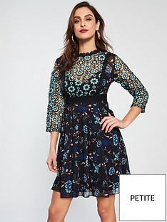 little-mistress-petite-little-mistress-petite-mixed-print-skater-midi-dress