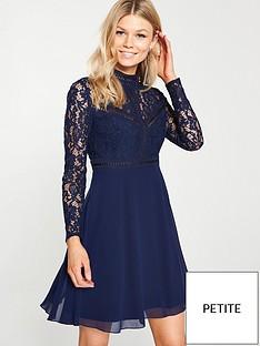 068284df1ceee Little Mistress Petite Little Mistress Petite Sheer Lace Long Sleeve Skater  Dress