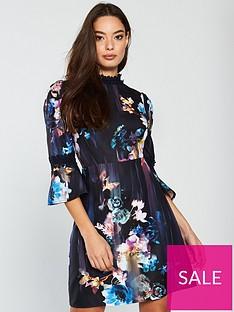 e92107e970156 Little Mistress Floral Print Fluted Sleeve Mini Dress - Multi