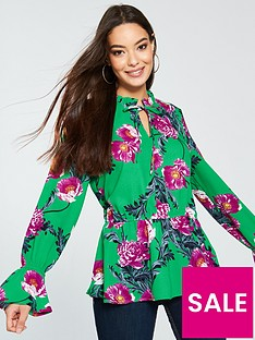 vero-moda-high-neck-long-sleeve-green-floral-top-green