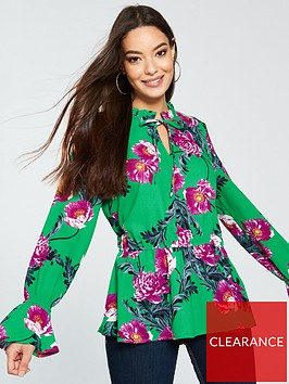 vero-moda-high-neck-long-sleeve-green-floral-top-green