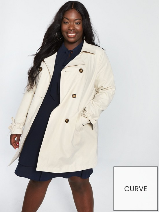 86fc024b173c JUNAROSE Curve Tukka Trench Coat - Oatmeal | very.co.uk