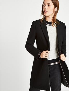 Jack Wills Chelsea Wool Blend Overcoat - Black