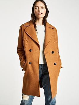 Jack Wills Henley Wool Blend Coat - Ginger