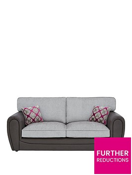 moreno-faux-snakeskin-and-fabric-3-seater-standard-back-sofa