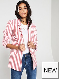 07a6fd9fdcc8c V by Very Stripe Linen Blazer