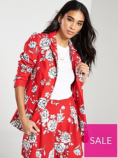 v-by-very-floral-printed-blazer-red