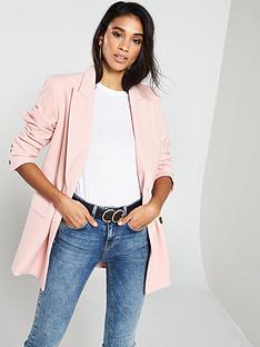 15985ab772a0 V by Very Double Breasted Textured Blazer - Blush
