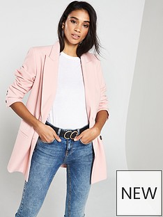 ec9432a5158bd V by Very Double Breasted Textured Blazer - Blush