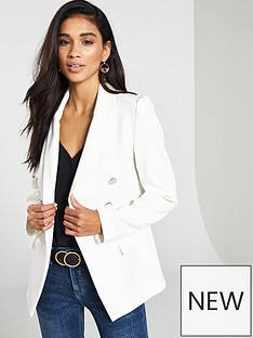 4f448a08b71ff V by Very Double Breasted Blazer - Ivory