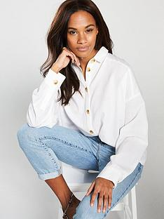 e233a4e1231a V by Very Oversized Linen Shirt - Ivory