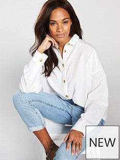 3899d97dadcaa0 V by Very Oversized Linen Shirt - Ivory