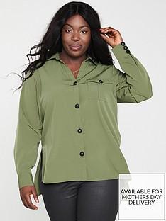 v-by-very-curve-large-button-detail-longline-blouse-khaki