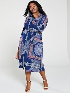 3e1d8f3b5e V by Very Curve Printed Belt Shirt Maxi Dress - Navy