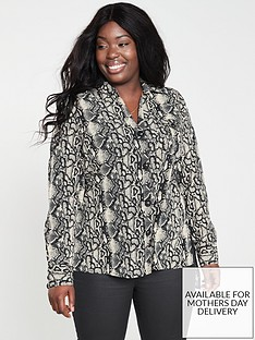 v-by-very-curve-large-button-detail-longline-blouse-snake-print