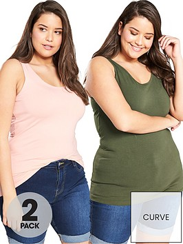 v-by-very-curve-2-pack-longline-vests-khakiblush