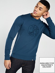 Pretty Green Applique Crew Sweater - Blue 5a3b64301c59