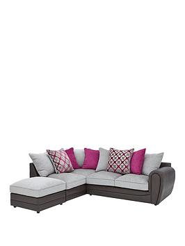 moreno-faux-snakeskin-and-fabric-left-hand-corner-chaise-scatter-back-sofa-footstool