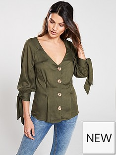v-by-very-horn-button-viscose-blouse
