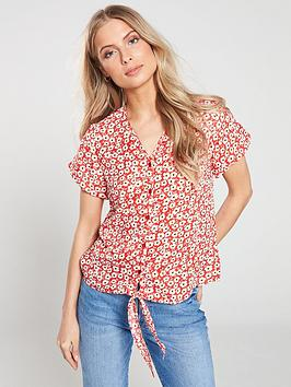 v-by-very-printed-v-neck-tie-front-button-through-blouse-red