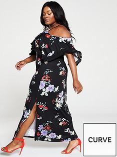 d813f6e0bdf V by Very Curve Cold Shoulder Jersey Maxi Dress