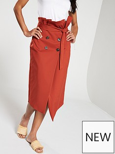 c8875f2bc15b V by Very High Waisted Belted Skirt - Rust