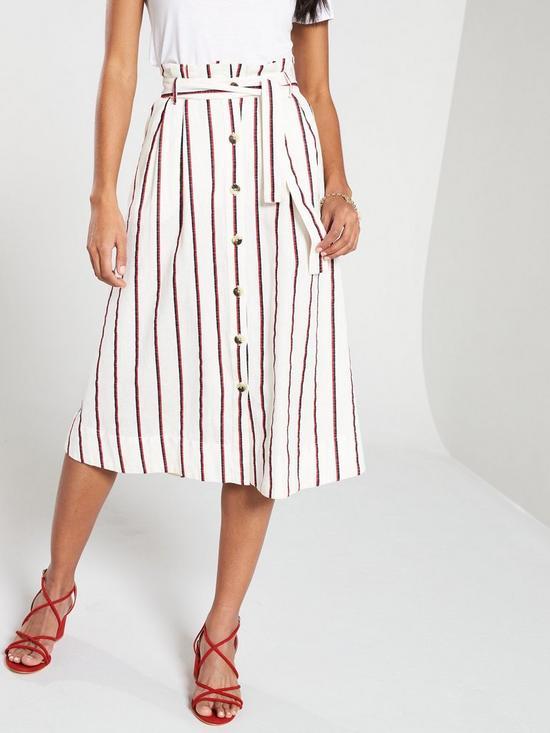 Image result for V by Very Stripe Belted Linen Skirt