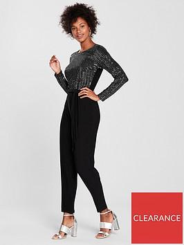 wallis-sparkle-top-jersey-jumpsuit-black
