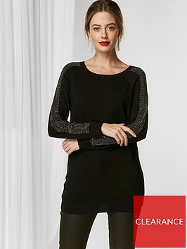 wallis-petite-sparkle-stud-sleeve-jumper-black
