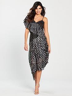 warehouse-warehouse-mixed-foil-spot-asymmetric-dress