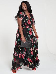 V by Very Curve Ruffle Printed Maxi Dress - Print 3786feb48
