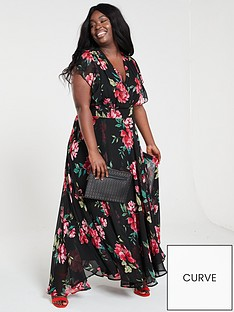 a3db75d2a35093 V by Very Curve Ruffle Printed Maxi Dress - Print