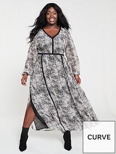 11813c36a1c83e V by Very Curve Lace Trim Maxi Dress - Snake
