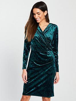 wallis-velvetnbspwrap-dress-green