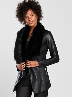 wallis-faux-fur-collar-waterfall-jacket-black