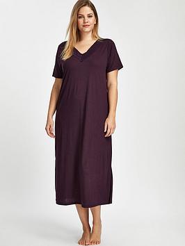 evans-plum-viscose-lace-long-night-dress