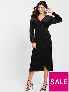 warehouse-glitter-velvet-wrap-midi-dress