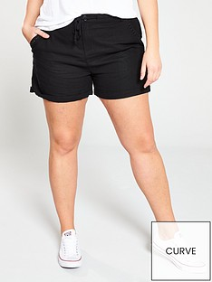 v-by-very-curve-linen-mix-short-black