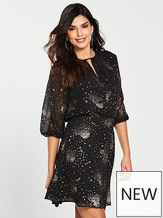 warehouse-sparkle-star-dress-black