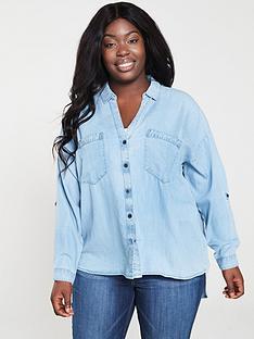 V by Very Denim Button Through Shirt - Blue ec755f1423