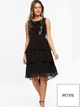 wallis-petite-sequin-hem-dress-black