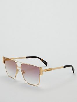 moschino-gold-logo-arm-flat-top-sunglasses-goldpurple