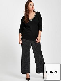 evans-sparkle-wide-leg-trousernbsp-black