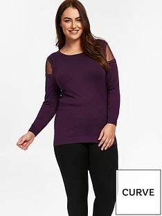 evans-mesh-cold-shoulder-knitted-top-purple