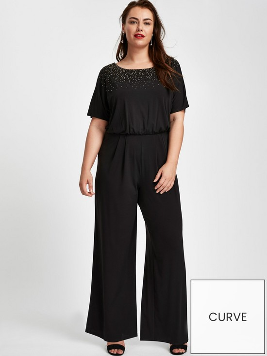 d7c2f5fbfb8 Evans Sparkle Hot Fix Jumpsuit - Black